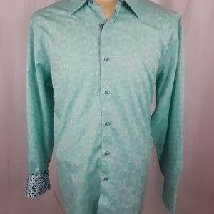 Robert Graham Shirt Classic Fit XL Teal Floral
